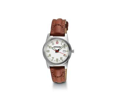 WENGER FIELD CLASSIC LARGE WHITE DIAL BROWN LEATHER STRAP