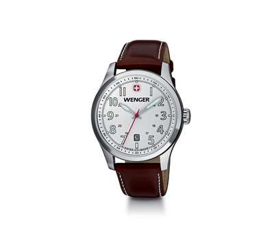 Wenger Terragraph- Metallic White Dial Brown Leather Strap