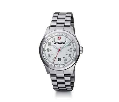 Wenger Terragraph- Metallic White Dial Stainless Bracelet