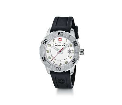 Wenger Roadster-White Dial Black Silicone Strap
