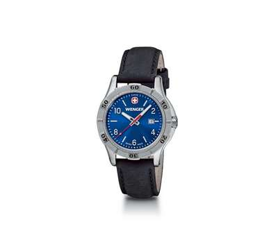 Wenger Platoon- Blue Dial with Black Leather Strap