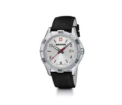 Wenger Platoon- Silver Dial Black with Leather Strap