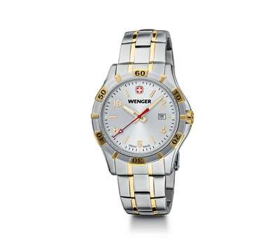 Wenger Platoon- Silver Dial with Two-Tone Bracelet