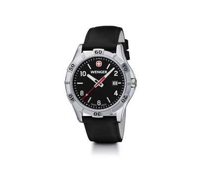 Wenger Platoon- Black Dial with Black Leather Strap