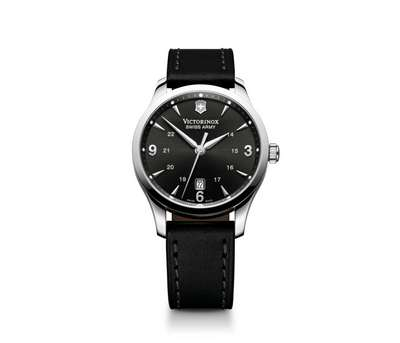 Alliance Watch- Black Dial Black Leather Strap