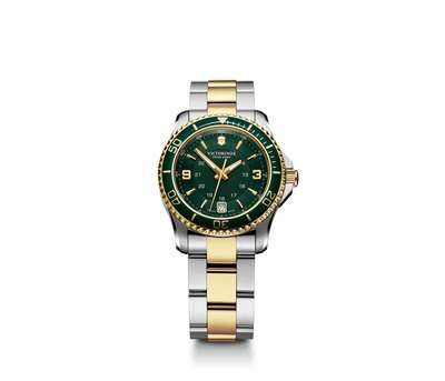 Maverick Gs- Two Tone Green Bezel with Stainless Steel Bracelet