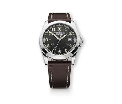 INFANTRY DARK GREY BROWN LEATHER STRAP