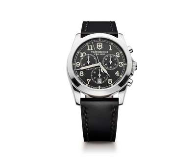 INFANTRY CHRONO DARK GREY DIAL BLACK LEATHER STRAP