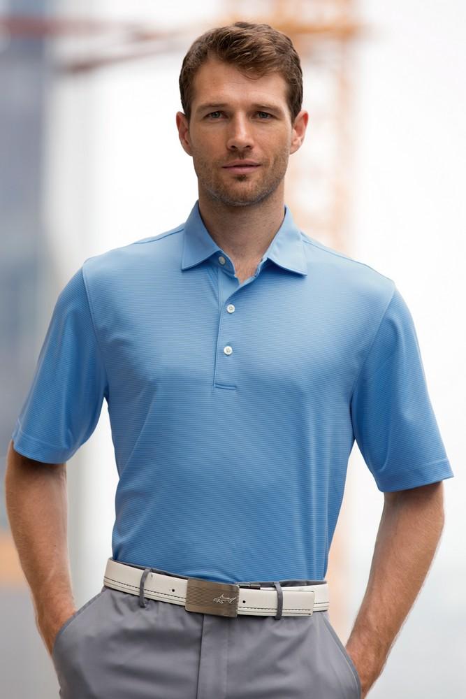 Promotional greg norman tonal stripe polo shirt for Greg norman ml75 shirts
