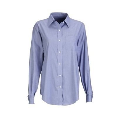 Van Heusen Women's Long Sleeve Button-Up Classic Pincord Shirt