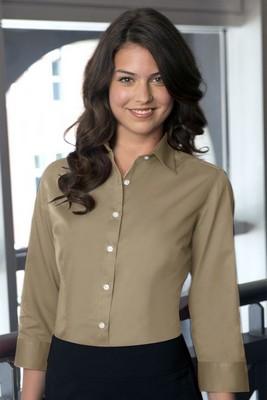 Van Heusen Women's 3/4 Sleeve Button-Up Dress Twill