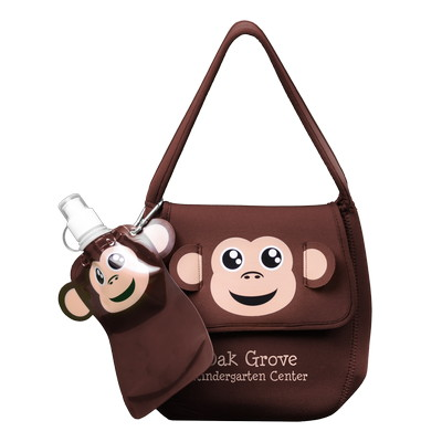 Paws N Claws Neoprene Animal Lunch Bag With Flat Bottle