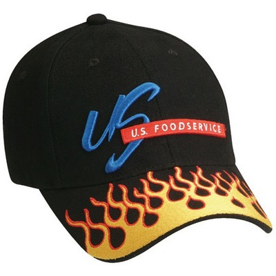 Custom Embroidered Flame Print Logo Baseball Cap