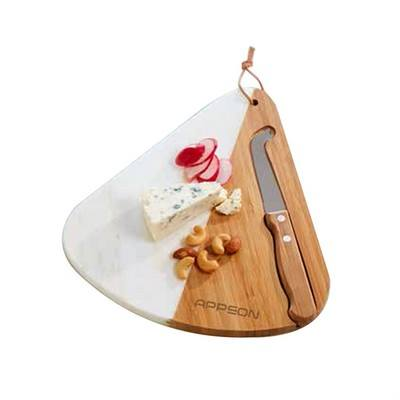 Customised Elegance Bamboo & Marble Cheese Board Set